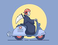 The Grim Reaper Rides A Vespa