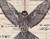 Bic biro drawing on a collection of antique envelopes