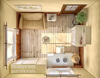 Interior design bedroom 11 m2 / Russia