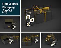 Gold & Dark Shopping App V.1 Mockup