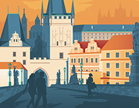 Prague Czech Republic Retro Travel Poster Illustration