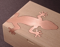 Maple wood box with inset gecko (2013)