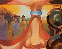 Anti-war movie poster Vietnam war background