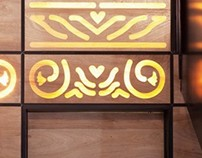 Lighted Wooden Wall & Stairs