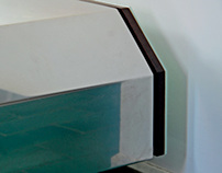 Bed bench drawers in wood, steel and glass