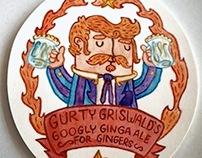 Bertie McNass, Gurty Griswold & Cecil Bogbrush Beermats