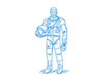 Astronaut holding a helmet