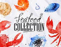 Watercolor Seafood Set
