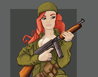 Pin up girl with tommy gun.