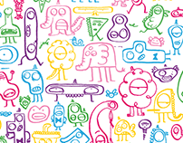 """Monsters party"" stationery design."