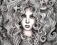 "Zodiac illustration ""PISCES"""