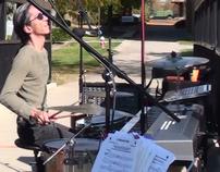 Performing on drums & keys simultaneously