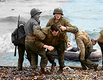 Photo Colorization: Omaha Beach landing.