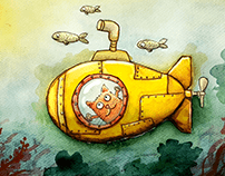 """Yellow Submarine"" Watercolor illustration set"