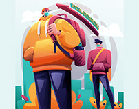 Social Distancing Queue Illustration