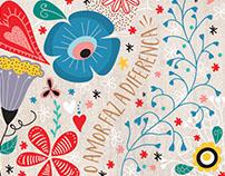 Ilustração Flores e frases