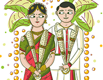 Tamil Wedding Invitation Illustration and Design