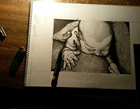 Recien nacido Puntillismo Tinta sobre papel - 18x25