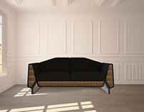 GRAND ROYALE | Brass Strings Sofa - Living Room