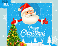 Happy Christmas Greeting Mockup PSD