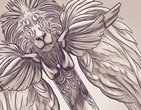Lion,wings,sword-tattoo design for client :)