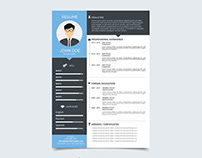 Free Vector Resume Template with Flat Style Design