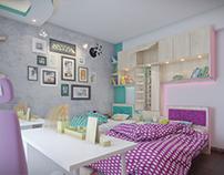 TGW-The Grey Wall; Girls' Bedroom custom design