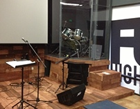 Drum Cage and Stage at North Coast Church (high school)
