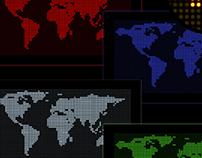 Digital World map set- 6 colors