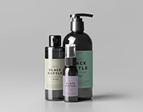 Black Bottles Cosmetic Mockup