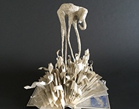 3D Dalínian-Inspired Elephant Book Sculpture