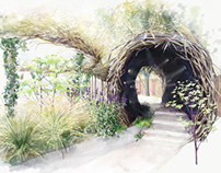 Magpie Paradise Garden illustrations for Studio Toop
