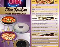 Advertisement posters, menu, CD cover