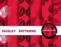 Collection seamless patterns with paisley.