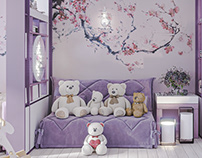 Children's room for a princess with Japanese motifs.