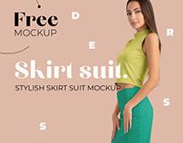 Free Elegant Skirt Suit Mockup for Fabric Designers