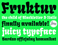 Fruktur Typeface. The child of black letter & italic