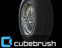 Highpoly Borrani wire wheel with tire