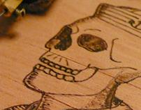 Skull Sailor - Wood Hand Made - Pyrography