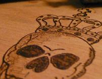 King Skull - Wood Hand Made Pyrography
