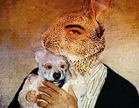 Nacer perro en una familia de conejos