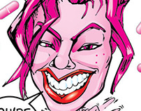 Pink 01 and Pink 02 Caricature
