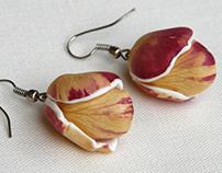 Real Rose Petals Earrings - Botanist In Love Jewelry