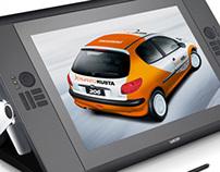 Kuantokusta's Company Car branding design.