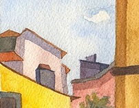 Watercolors of Viterbo, Italy