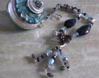 Necklace,Tribes Silver, Aquamarine, Labradorite,Garnet.