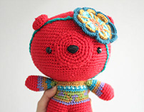 Amigurumi red teddy bear