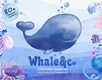 """Watercolor illustration set """"Whale&Co"""""""