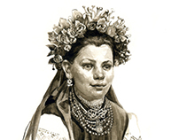 Ukrainian traditional folk women's clothes and jewelry