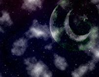 I SAW ON SKY MOON HAS FLAG OF PAKISTAN